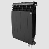 Радиатор биметаллический RoyalThermo Biliner 500 VD с нижним подключением, Noir Sable черный графитовый, 8 секций купить в интернет-магазине Азбука Сантехники