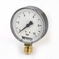 Манометр Watts радиальный (0–10 бар), корпус — Ø 100 мм