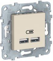 Schneider Electric Unica New Бежевый Розетка USB 2-местная 5 В / 2100 мА купить в интернет-магазине Азбука Сантехники