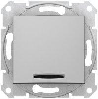 Schneider Electric Sedna Алюминий Выключатель 1-клавишный с индикацией 10A купить в интернет-магазине Азбука Сантехники