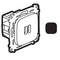 Legrand Valena Allure Антрацит Зарядное устройство 2хUSB 1500mA купить в интернет-магазине Азбука Сантехники