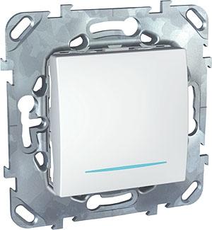 Schneider Electric Unica Белый Переключатель перекрестный 1-клавишный (схема 7) с подсветкой купить в интернет-магазине Азбука Сантехники