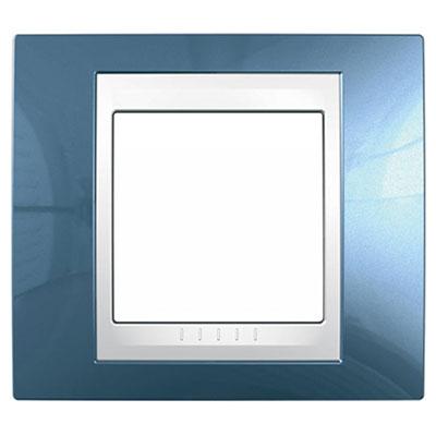 Schneider Electric Unica Хамелеон Голубой лед/Белый Рамка 1-ая купить в интернет-магазине Азбука Сантехники
