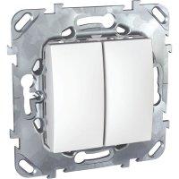 Schneider Electric Unica Белый Выключатель 2-клавишный (схема 5) купить в интернет-магазине Азбука Сантехники