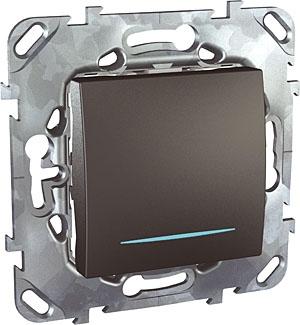 Schneider Electric Unica Top Графит Переключатель перекрестный 1-клавишный (схема 7) с подсветкой купить в интернет-магазине Азбука Сантехники