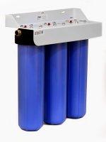 Магистральный фильтр трехступенчатый Big Blue 20, синий (ключ, кронштейн, без картриджа) купить в интернет-магазине Азбука Сантехники