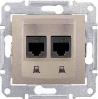 Schneider Electric Sedna Титан Розетка компьютерная 2-ая RJ45 кат.5e STP экранированная купить в интернет-магазине Азбука Сантехники
