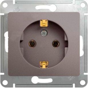 Schneider Electric Glossa Платина Розетка с/з 16A 250В механизм купить в интернет-магазине Азбука Сантехники