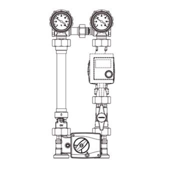 Насосная группа Oventrop Regumat M4-180 — Ду25 (4-ходовой смеситель, без насоса)