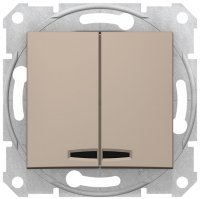 Schneider Electric Sedna Титан Выключатель 2-клавишный с подсветкой 10A купить в интернет-магазине Азбука Сантехники