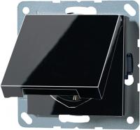 Jung Черный Механизм Розетка с/з с крышкой безвинт.зажим (A1520KLSW) купить в интернет-магазине Азбука Сантехники