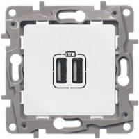 Legrand Etika Белый Зарядное устройство с двумя USB разьемами 240В/5В 2400мА купить в интернет-магазине Азбука Сантехники