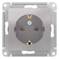 Schneider Electric AtlasDesign Алюминий Розетка с/з 16A механизм купить в интернет-магазине Азбука Сантехники