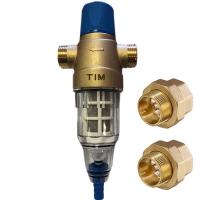 """Фильтр промывной TIM с ручной обратной промывкой Ø 3/4"""" НН, стеклянный корпус"""