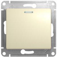 Schneider Electric Glossa Бежевый Выключатель кнопочный с подсветкой 10A (схема 1a) купить в интернет-магазине Азбука Сантехники