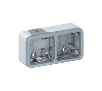 Legrand Plexo Серый Коробка монтажная 2-местная для накладного монтажа горизонтальная IP55 купить в интернет-магазине Азбука Сантехники