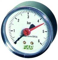 """Манометр FAR 1/4"""" (торцевое соединение), 0–10 бар, 20–80 °C, Ø 63 мм купить в интернет-магазине Азбука Сантехники"""