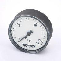 Манометр Watts аксиальный (0–16 бар), корпус — Ø 50 мм