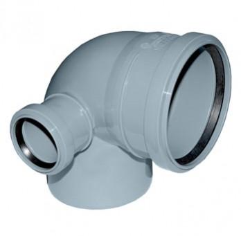 Отвод Политэк Ø 110 мм × 90° с выходом Ø 50 мм (левый) полипропиленовый серый купить в интернет-магазине Азбука Сантехники