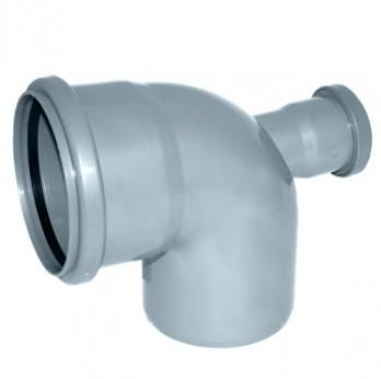 Отвод Политэк Ø 110 мм × 90° с выходом Ø 50 мм (фронтальный) полипропиленовый серый купить в интернет-магазине Азбука Сантехники