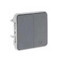 Legrand Plexo Серый Переключатель 2-клавишный управления приводами жалюзи IP55 купить в интернет-магазине Азбука Сантехники