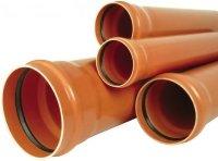 Труба ПВХ с раструбом Ø 160 × 3,6 × 2000 мм для наружной канализации