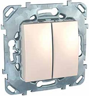 Schneider Electric Unica Бежевый Переключатель 2-клавишный (схема 6+6) купить в интернет-магазине Азбука Сантехники