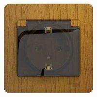 Schneider Electric Glossa Дуб Розетка с/з с защитными шторками с крышкой в сборе с рамкой купить в интернет-магазине Азбука Сантехники