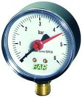"""Манометр FAR 1/4"""" (радиальное соединение), 0–6 бар, 20–80 °C, Ø 63 мм"""