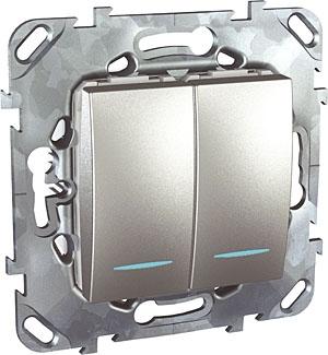 Schneider Electric Unica Top Алюминий Переключатель 2-клавишный (схема 6+6) с подсветкой купить в интернет-магазине Азбука Сантехники