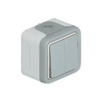 Legrand Plexo Серый Переключатель 2-клавишный накладной 10A в сборе IP55 купить в интернет-магазине Азбука Сантехники