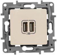 Legrand Etika Cлоновая кость Зарядное устройство с двумя USB разьемами 240В/5В 2400мА купить в интернет-магазине Азбука Сантехники