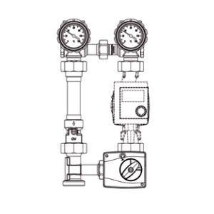 Насосная группа Oventrop Regumat M3-180 — Ду25 (3-ходовой смеситель, насос Wilo)