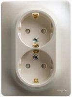 Schneider Electric Glossa Молочный Розетка двойная с/з 16A 250В в сборе купить в интернет-магазине Азбука Сантехники