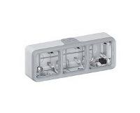 Legrand Plexo Серый Коробка монтажная 3-местная для накладного монтажа горизонтальная IP55 купить в интернет-магазине Азбука Сантехники