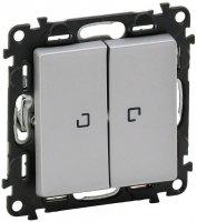 Legrand Valena Life Алюминий Выключатель 2-клавишный на 2 направления с подсветкой 10A купить в интернет-магазине Азбука Сантехники