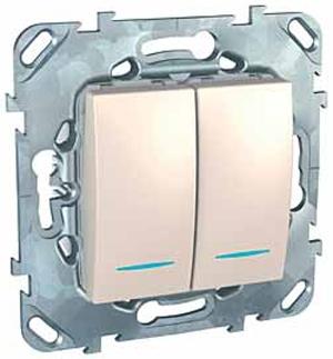 Schneider Electric Unica Бежевый Переключатель 2-клавишный (схема 6+6) с подсветкой купить в интернет-магазине Азбука Сантехники