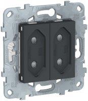 Schneider Electric Unica New Антрацит Розетка 2-модульная б/з со шторками винтовой зажим 10A купить в интернет-магазине Азбука Сантехники