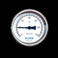 """Термометр биметаллический ELSEN, Ø 80, 1/2"""", В, осевой, шток-50 мм, Ø штока 9 мм купить в интернет-магазине Азбука Сантехники"""