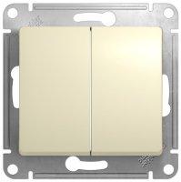 Schneider Electric Glossa Бежевый Выключатель 2-клавишный 10A (схема 5) купить в интернет-магазине Азбука Сантехники