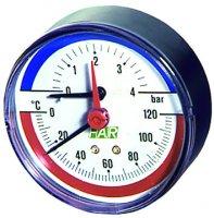 """Термоманометр FAR 0–10 бар, 0–120 °C, Ø 80 мм, торцевое соединение 1/2"""" купить в интернет-магазине Азбука Сантехники"""