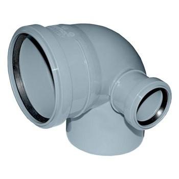 Отвод Политэк Ø 110 мм × 90° с выходом Ø 50 мм (правый) полипропиленовый серый