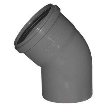 Отвод Политэк Ø 50 мм × 45° полипропиленовый серый
