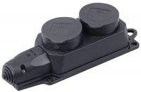 IEK Омега РБ32-1-0м Розетка двойная с защитными крышками 16A IP44 черная купить в интернет-магазине Азбука Сантехники