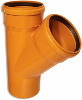 Тройник ПВХ Ø 110 × 110 мм × 45° для наружной канализации купить в интернет-магазине Азбука Сантехники