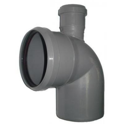 Отвод Политэк Ø 110 мм × 90° с выходом Ø 50 мм (прямой) полипропиленовый серый купить в интернет-магазине Азбука Сантехники