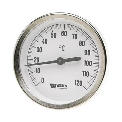 Термометр биметаллический Watts F+R801 63/100 (120 °C) с погружной гильзой 63 мм, штуцер 100 мм купить в интернет-магазине Азбука Сантехники