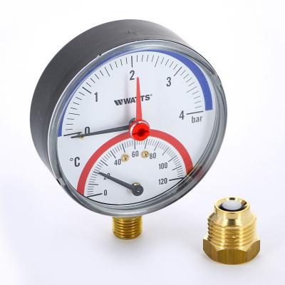 """Термоманометр радиальный Watts F+R828 (TMRP) 80 мм, 6 бар (Ø 1/2"""", 120 °C) купить в интернет-магазине Азбука Сантехники"""