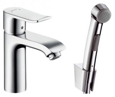 Смеситель Hansgrohe Metris 31285000 для раковины с гигиеническим душем купить в интернет-магазине Азбука Сантехники