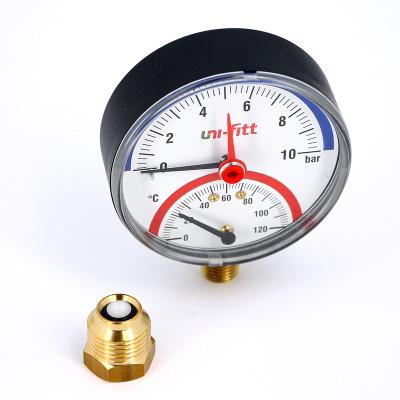 """Термоманометр радиальный UNI-FITT 1/2"""" 10 бар, 80 мм купить в интернет-магазине Азбука Сантехники"""